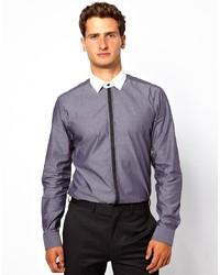 Camicia elegante in chambray grigio scuro