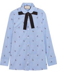 Camicia elegante ricamata azzurra