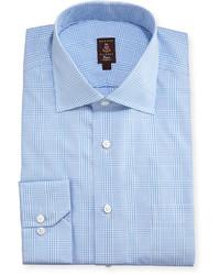 Camicia elegante scozzese azzurra