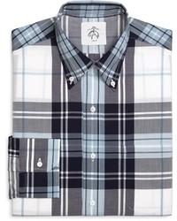 Camicia elegante scozzese bianca e blu scuro