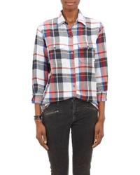 Camicia elegante scozzese bianca e rossa e blu scuro