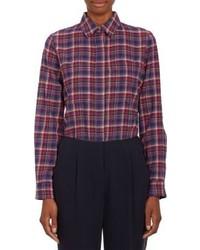 Camicia elegante scozzese blu scuro e rossa