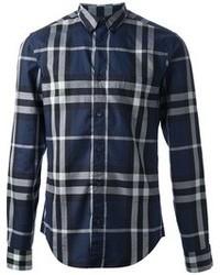 Camicia elegante scozzese blu scuro