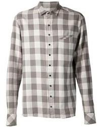 Camicia elegante scozzese grigia