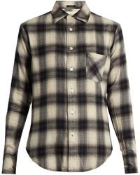 Camicia elegante scozzese grigio scuro