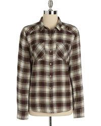 Camicia elegante scozzese marrone