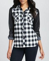 Camicia elegante scozzese nera e bianca