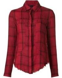 Camicia elegante scozzese rossa