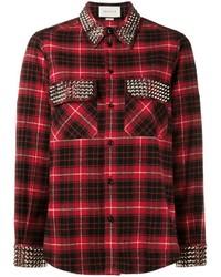 Camicia elegante scozzese rossa di Gucci