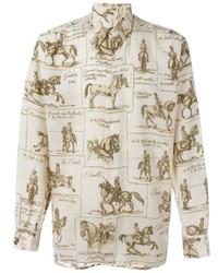 Camicia elegante stampata beige