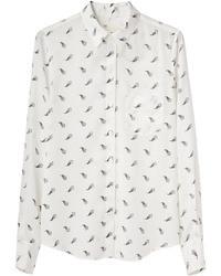 Camicia elegante stampata bianca e nera