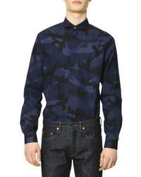 Camicia elegante stampata blu scuro