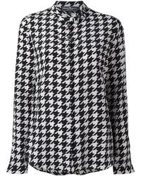 Camicia elegante stampata nera e bianca di Salvatore Ferragamo