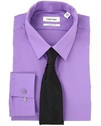 Camicia elegante viola melanzana