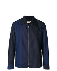 Camicia giacca a righe verticali blu scuro