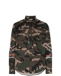 Camicia giacca di cotone mimetica verde oliva di Valentino
