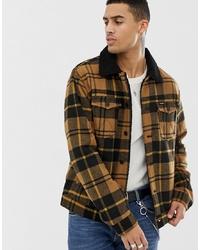 Camicia giacca di lana a quadri marrone