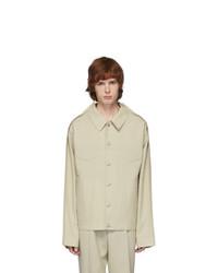 Camicia giacca di lana beige