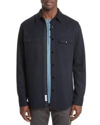 Camicia giacca di lana blu scuro