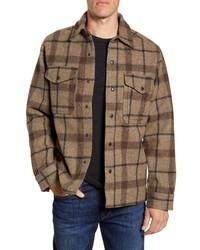 Camicia giacca di lana scozzese marrone