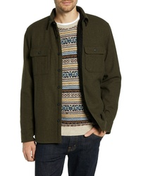 Camicia giacca di lana verde oliva