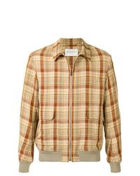 Camicia giacca di lino a quadri marrone chiaro di TOMORROWLAND