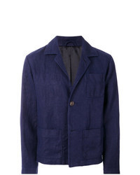 Camicia giacca di lino blu scuro