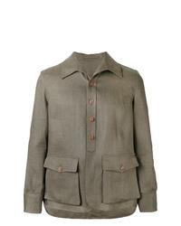 Camicia giacca di lino verde oliva