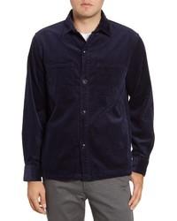 Camicia giacca di velluto a coste blu scuro