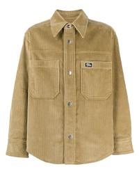 Camicia giacca di velluto a coste marrone chiaro di Ami Paris