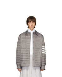 Camicia giacca in nylon trapuntata grigia di Thom Browne