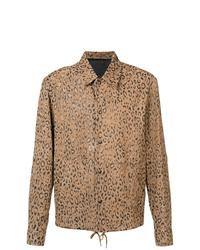 Camicia giacca in pelle leopardata marrone chiaro di Alexander Wang