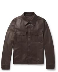 Camicia giacca in pelle marrone scuro di Ermenegildo Zegna