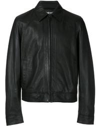 Camicia giacca in pelle nera