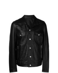Camicia giacca in pelle nera di Balmain