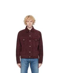 Camicia giacca in pelle scamosciata bordeaux