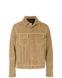 Camicia giacca in pelle scamosciata marrone chiaro