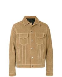 Camicia giacca in pelle scamosciata marrone chiaro di AMI Alexandre Mattiussi