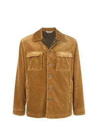 Camicia giacca in pelle scamosciata marrone chiaro di Aspesi