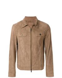 Camicia giacca in pelle scamosciata marrone chiaro di Desa Collection