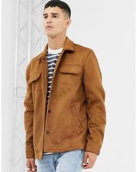 Camicia giacca in pelle scamosciata marrone chiaro di Farah