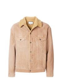 Camicia giacca in pelle scamosciata marrone chiaro di Gucci