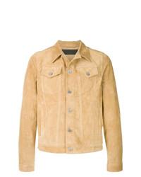 Camicia giacca in pelle scamosciata marrone chiaro di JW Anderson