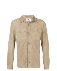 Camicia giacca in pelle scamosciata marrone chiaro di Kired