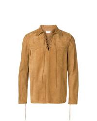Camicia giacca in pelle scamosciata marrone chiaro di Saint Laurent