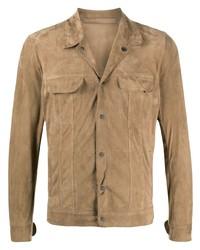 Camicia giacca in pelle scamosciata marrone chiaro di Salvatore Santoro