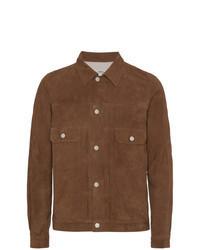 Camicia giacca in pelle scamosciata marrone