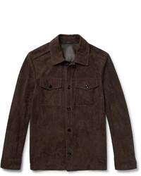 Camicia giacca in pelle scamosciata marrone scuro