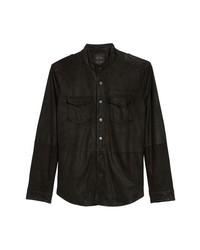 Camicia giacca in pelle scamosciata nera