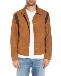 Camicia giacca in pelle scamosciata terracotta